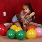 Amy pops balloons fetish naked