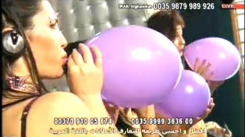 Girl blows up pops balloon
