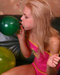 Cindy inflates balloons