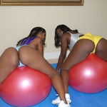 Makana and Roxy on inflatables naked